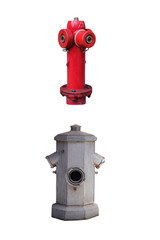 Two old street fire hydrants to extinguish a fire isolated on white background
