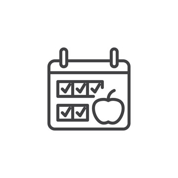 Diet plan calendar line icon. linear style sign for mobile concept and web design. Calendar page with apple outline vector icon. Symbol, logo illustration. Pixel perfect vector graphics