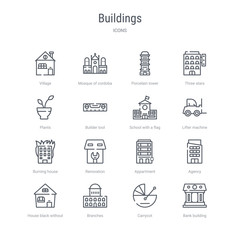 set of 16 buildings concept vector line icons such as bank building, carrycot, branches, house black without door, agency, appartment, renovation, burning house. 64x64 thin stroke icons