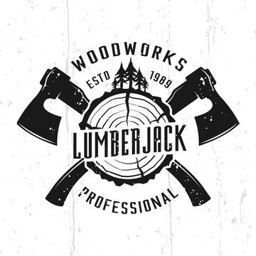 Lumberjack and woodworks monochrome vector emblem