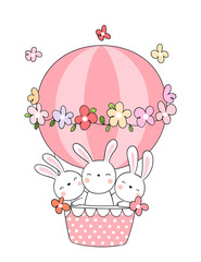Draw rabbit in pink balloon.