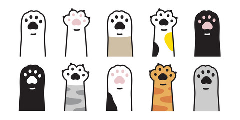 cat paw vector icon calico kitten footprint logo character cartoon ginger doodle illustration sign Fototapete