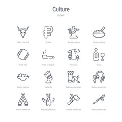 set of 16 culture concept vector line icons such as native american spear, native american tomahawk, native american totem, wigwam, drum, amertican arrows and quiver, nefertiti, onion patties. 64x64