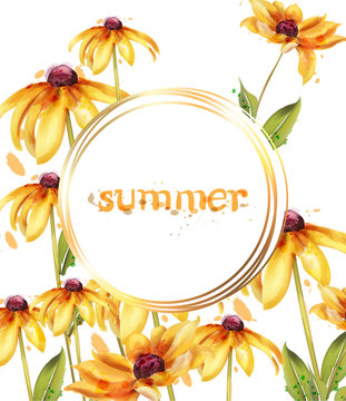 Yellow flowers Vector watercolor card. Summer floral decorations