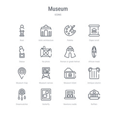 set of 16 museum concept vector line icons such as buffalo, newtons cradle, butterfly, dreamcatcher, antique column, museum ticket, museum canvas, map. 64x64 thin stroke icons
