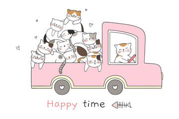 Draw cat sleeping in pink pastel car so happy.