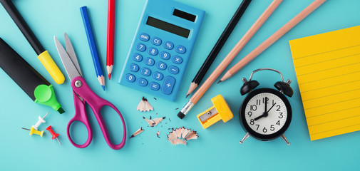 School stationery with clock and calculator