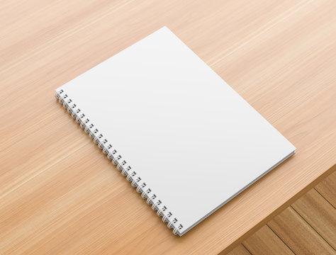A4 format spiral binding notebook mock up