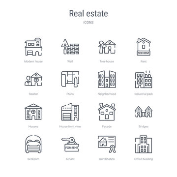 set of 16 real estate concept vector line icons such as office building, certification, tenant, bedroom, bridges, facade, house front view, houses. 64x64 thin stroke icons