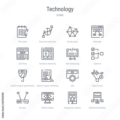 set of 16 technology concept vector line icons such as