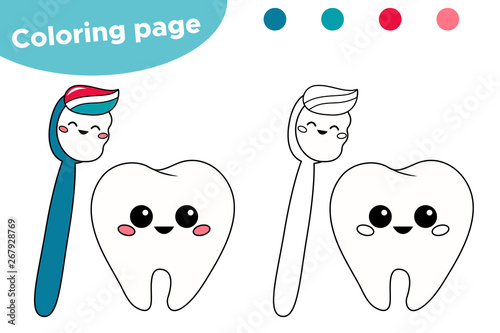 Cute Kawaii Cartoon Tooth And Toothbrush Coloring Page For