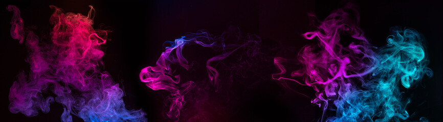 blue and purple swirls of smoke on black background