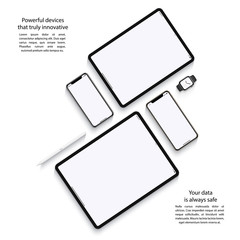 Obraz mockup devices: smartphones, tablets and smart watch with blank screen isolated on white background. stock vector illustration eps10 - fototapety do salonu