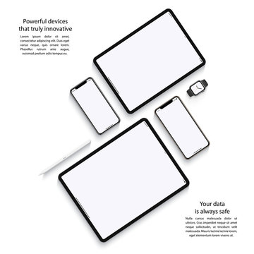 mockup devices: smartphones, tablets and smart watch with blank screen isolated on white background. stock vector illustration eps10