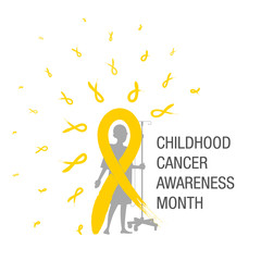 Emblem for a childhood cancer awareness month, picturing little bold head patient with drip stand, standing behind big yellow ribbon paint brush and many small ribbons making halo.