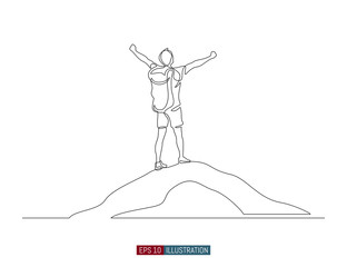 Continuous line drawing of winner man on mountain peak. Climber on mountain top silhouette. Victory symbol. Template for your design works. Vector illustration.