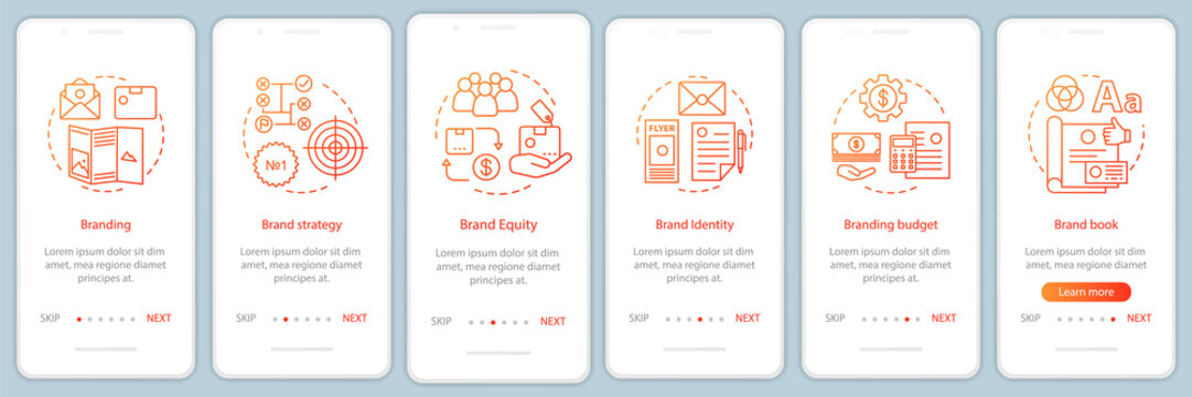 Branding onboarding mobile app page screen, linear concepts