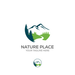 Vector logo of nature abstract elements. Round sacred symbol. Outline icon of landscape, mountains and river