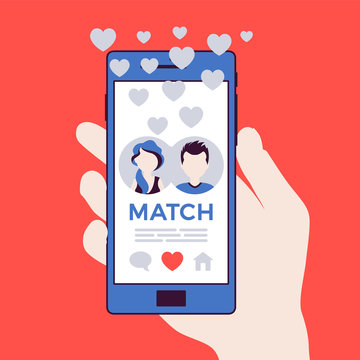 Dating mobile application with match on smartphone screen. Man, woman put together, meet life partner, social network service, hand holding phone. Vector illustration, faceless characters