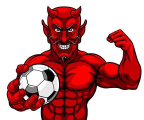 A devil Satan Soccer Football sports mascot cartoon character man holding a ball