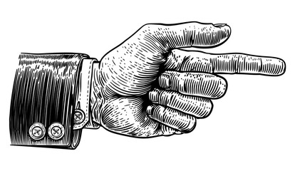 A hand pointing a finger in a direction sign. Wearing a business suit in a vintage antique engraving woodblock or woodcut style. Fototapete