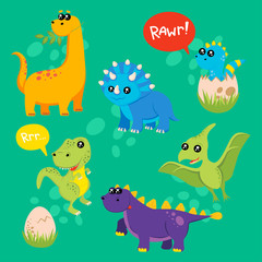 Photo sur Plexiglas Dinosaurs Cute kids dinosaurs pattern for girls and boys. Colorful dinosaurs on the abstract grunge background.. The dinosaurs pattern is made in neon colors. Urban pattern. backdrop for textile and fabric.