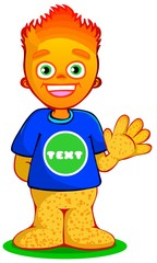 Freckled orange boy. waving hand.  fire haired kid. advertising mascot. 2d carton character. vector illustration. eps 10