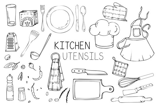 Set of hand drawn illustration with Kitchen Utensils. Actual vector drawing of coocking tools: dish, fork, spoon, knife, rolling pin, apron, cook cap, spatula, ladle and more. Doodle style drawing.