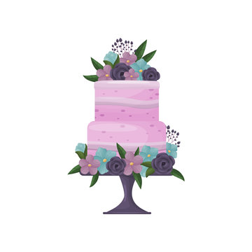 Two-tier purple cake with strips of cream on a deep blue stand with a leg. Vector illustration on white background.