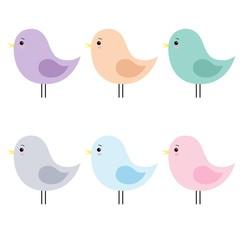 Set Of Cute Cartoon Birds Isolated On White Background