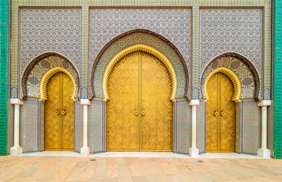 Entrance gates to the Royal Palace in Fes, Morocco