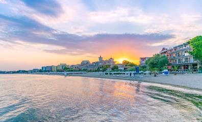 Sunset at the beach in Sunny Beach on the Black Sea coast of Bulgaria Wall mural
