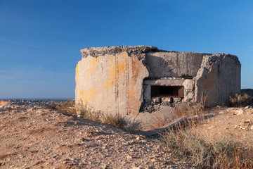 Abandoned concrete bunker WWII