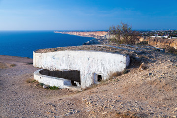 White concrete bunker from WWII