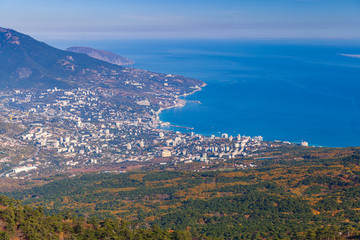 Mountain landscape with Yalta city