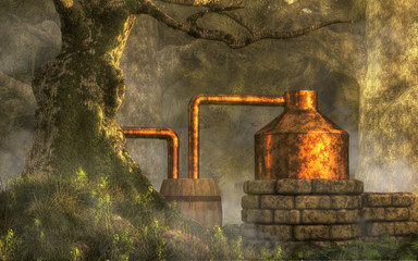 In a dense forest with moss covered trees, a bootlegger has constructed a moonshine still from stone, copper, and a couple of wooden barrels is for making illegal, back-woods whiskey. 3D Rendering