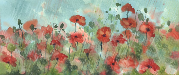 red poppies in the rain watercolor background