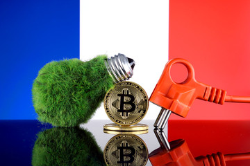 Bitcoin (BTC), green renewable energy concept, and France Flag. Electricity prices, energy saving in the cryptocurrency mining business.