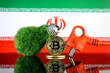 Bitcoin (BTC), green renewable energy concept, and Iran Flag. Electricity prices, energy saving in the cryptocurrency mining business.