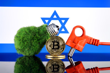 Bitcoin (BTC), green renewable energy concept, and Israel Flag. Electricity prices, energy saving in the cryptocurrency mining business.