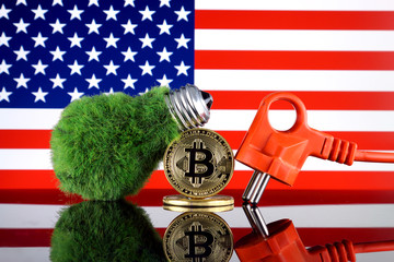 Bitcoin (BTC), green renewable energy concept, and United States Flag. Electricity prices, energy saving in the cryptocurrency mining business.