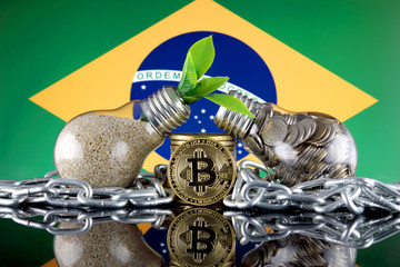 Bitcoin (BTC), green renewable energy concept, and Brazil Flag. Electricity prices, energy saving in the cryptocurrency mining business.