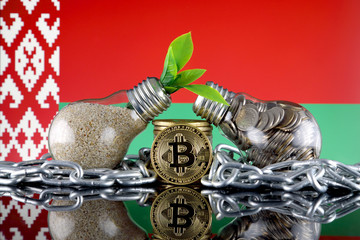Bitcoin (BTC), green renewable energy concept, and Belarus Flag. Electricity prices, energy saving in the cryptocurrency mining business.