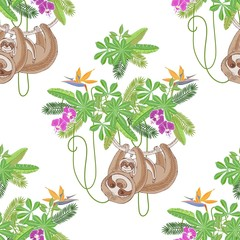 Seamless Pattern with Sloths in Jungle