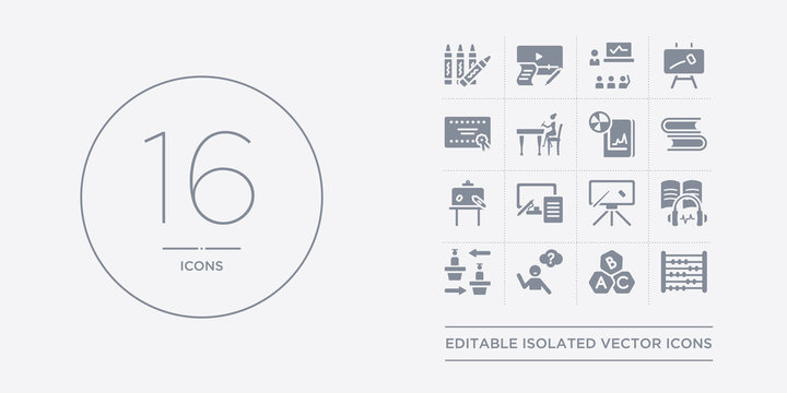 16 vector icons set such as abacus, abc, ask, asynchronous learning, audiobook contains blackboard, blended learning, board, book. abacus, abc, ask from e-learning and education outline icons