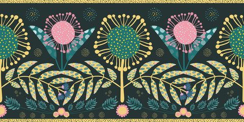 Bohemian style border with pink and teal flowers and leaves. Seamless geometric vector design with gold edging on black background. Perfect for stationery, edging, mugs, quilting, scrapbooking