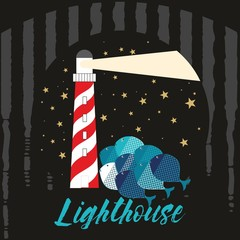 Lighthouse. Vector drawing related to maritime. Can be used for Textile, fabric, carpet, curtain, towels, bedspreads, poster.