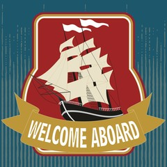 Boat and sticker. Maritime related objects. EPS format vector. It can be used for various printing drawings, pillow, towel, quilt, carpet, rug, fabric, textile, flag, t shirt and boat decoration.
