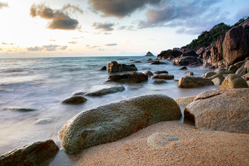 beautiful seascape with dramatic sky at koh tao suratthani southern of thailand