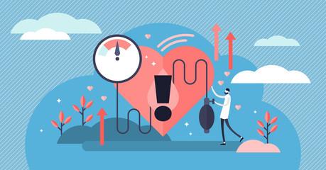 Obraz High blood pressure vector illustration. Tiny heart disease persons concept - fototapety do salonu